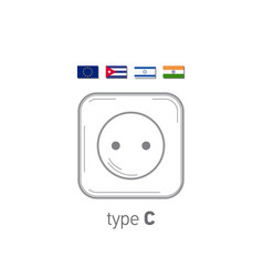 Sockets icon type c ac power sockets realistic vector