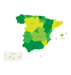 Spanish map devided to 17 administrative vector
