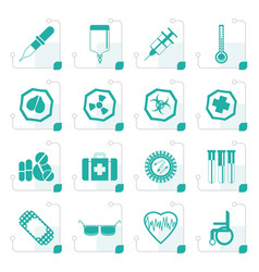 Stylized simple medical themed icons and warning vector