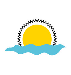 Summer sun with sea isolated icon vector