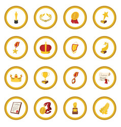 Trophy and awards cartoon icon circle vector