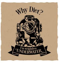 underwater motivation label design poster vector image vector image