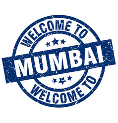 Welcome to mumbai blue stamp vector