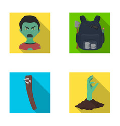 Zombies man mouth and other web icon in flat vector