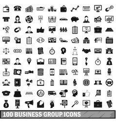 100 business group icons set simple style vector