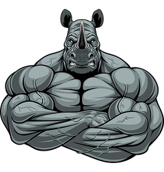 Strong rhinoceros athlete vector