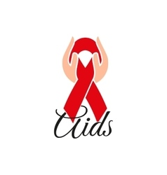Isolated red ribbon in human hands Disease vector image