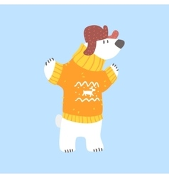 Polar white bear in sweater and cap with ear flaps vector