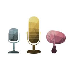 classic microphones symbols vector image