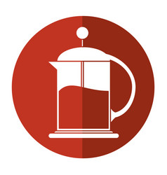 French press coffee maker shadow vector