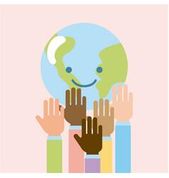 children world hands vector image