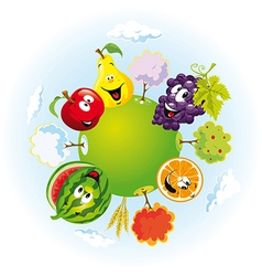 Planet with happy fruits vector
