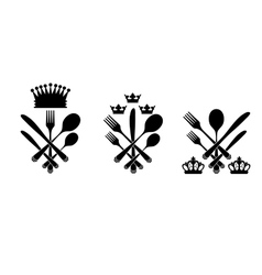 Three cutlery set with crowns vector