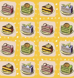 Cartoon cake pattern vector