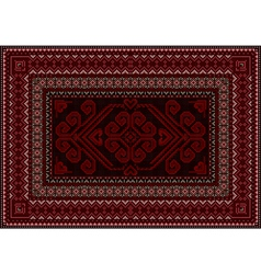 Dark carpet with red and brown shades vector