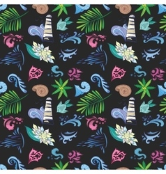 Tropical pattern on black vector