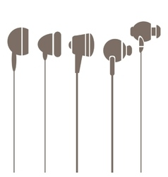 Earphones silhouettes icons vector