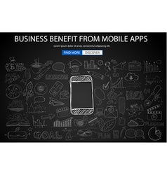 Business benefit from mobile concept with doodle vector
