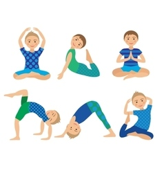 Kids yoga poses  child doing vector