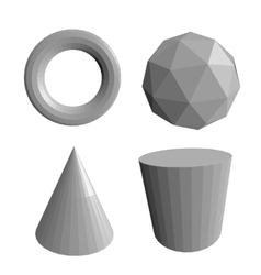 Abstract 3d shapes set vector image