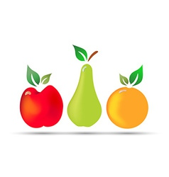 Apple pear orange fresh fruit with drops of dew vector