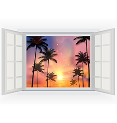 Beautiful sunset with palm trees vector