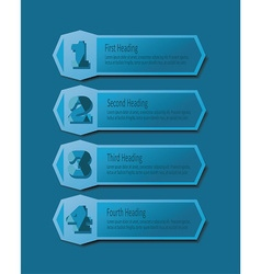 Blue number headings banners icons set vector image vector image