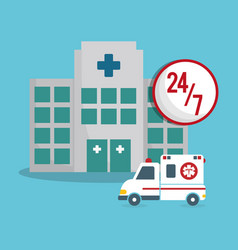Building clinic ambulance emergency 24-7 vector