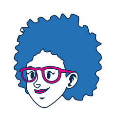 Character face girl with blue short hair and vector