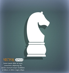 Chess knight icon On the blue-green abstract vector image