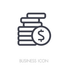 coins stack outline icon finances sign vector image vector image