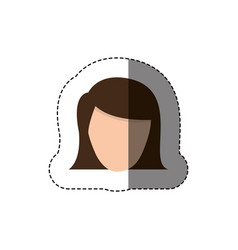 Color sticker with head of woman with short hair vector