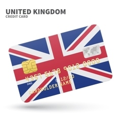 Credit card with united kingdom flag background vector