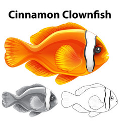 Doodle character for cinnamon clownfish vector