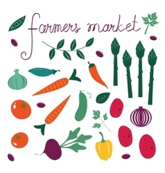 Farmers market set collection of fresh vegetables vector
