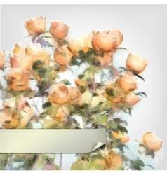 Flower Watercolor Roses Bush vector image vector image