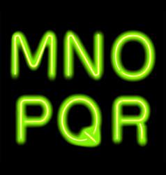 glowing neon alphabet vector image vector image