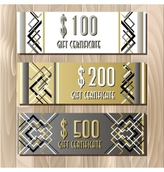 Golden silver gift certificate template in art vector image