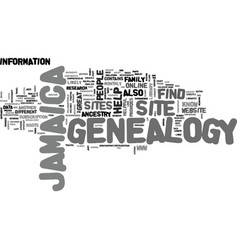 Jamaica genealogy text background word cloud vector