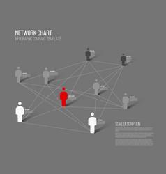 Minimalist network 3d chart vector