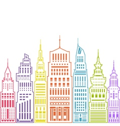 Modern big city linear style vector