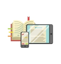 Modern learning with book smartphone and tablet vector