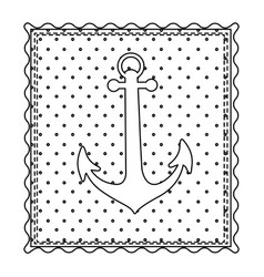 monochrome contour frame of anchor with background vector image