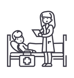 nurse and patient line icon sign vector image