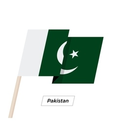 Pakistan ribbon waving flag isolated on white vector