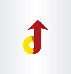 red yellow letter d arrow icon vector image vector image