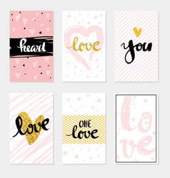 Set card love lettering for poster vector