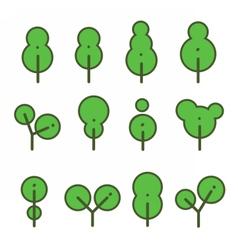 Set round environmentally friendly trees vector image