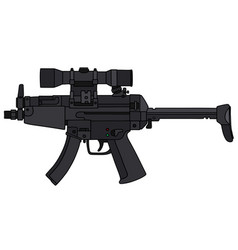 submachine gun with an optical sight vector image