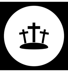 Three cross black isolated christianity symbols vector